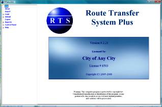 RTSplus™ Route Transfer Software Main Menu Screen