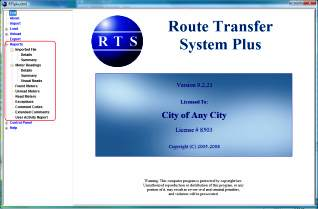 RTSplus™ Route Transfer Software Reports Menu Screen