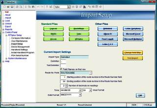 RTSplus™ Route Transfer Software Import Field Mapping Setup Screen